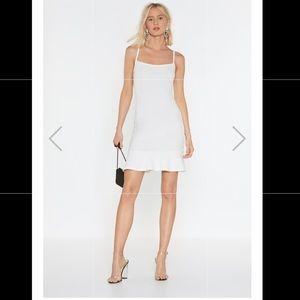 🧡 Flip 'Em Off Scuba Mini Dress in Ivory 🧡